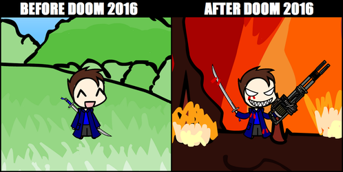 Before and After Doom 2016 by BoboMagroto