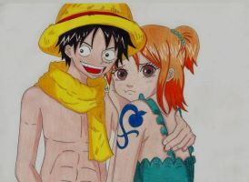 Luffy Nami One Piece by Lucy-chan90