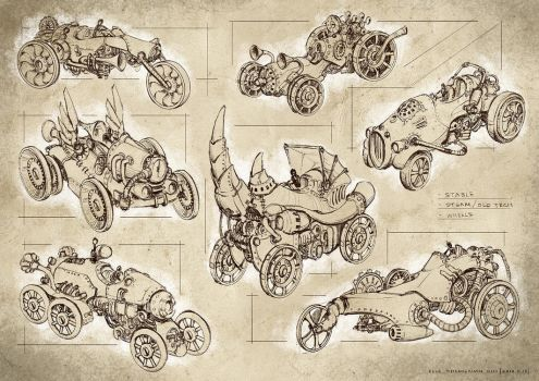 steampunk vehicles by Elle-Shengxuan-Shi
