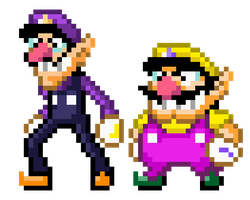 Wario and Waluigi, Mario World Style by Xyrau