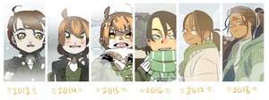 Ari in the snow through the years by eszart