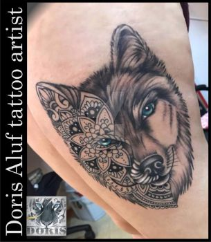Wolf mandala tattoo by doristattoo
