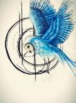 Random Sketch - Blue Owl by Schoerie