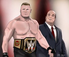 Brock Lesnar and Paul Heyman Drawing 2 by AllenThomasArtist