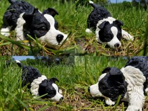 OOAK Playful Border Collie Puppy Figure
