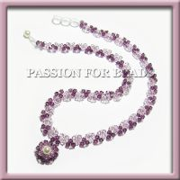 Purple amethyst Swarovski crystal necklace by PassionForBeads
