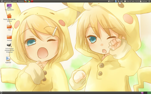 Len and Rin pikachu desktop by larissa-the-hanyou
