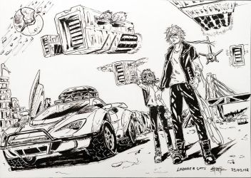 Lazare and Sati - A Mad Max Inspired Illustration by VortexBlast