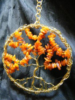 amber and brass tree by BacktoEarthCreations