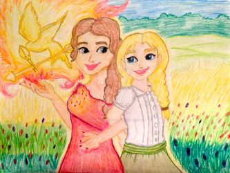 Katniss and Prim Frozen Style by Lea Voegeli by CaptainMockingjay