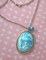Blue Lucky Cat Cameo Necklace by CantankerousCupcake