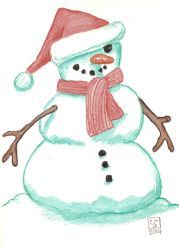 Snowman Christmas Card by The-Tinidril
