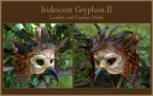 Iridescent Gryphon II - Leather Mask by windfalcon