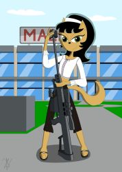 Kitty with really big gun by damiandomator