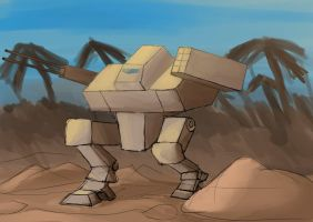 Mecha somewhere in the muddy jungle (or something) by doktorno