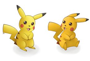 Normal and Shiny Pikachu by pdutogepi
