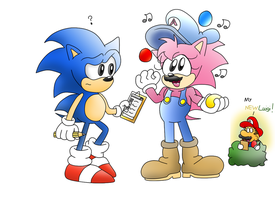 Sonic and Amy the Crazy Pizza Man by ClassicSonicSatAm