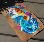 Japanese koi fish ~ embroidered phone case WIP by CyanFox3