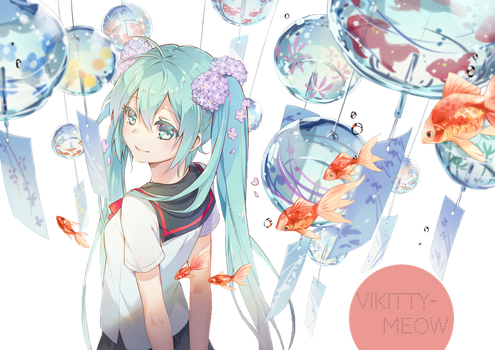 Hatsune Miku Render by vickitty-meow