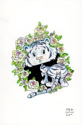 White Tiger and Roses by angeldevilland