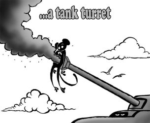 Monkey stapled to a tank turret by PaulBangerter