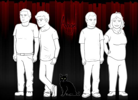 Family portrait linework with background by Wofk