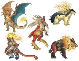 Realistic Pokemon Sketches: Fire Final Evolutions by ReneCampbellArt