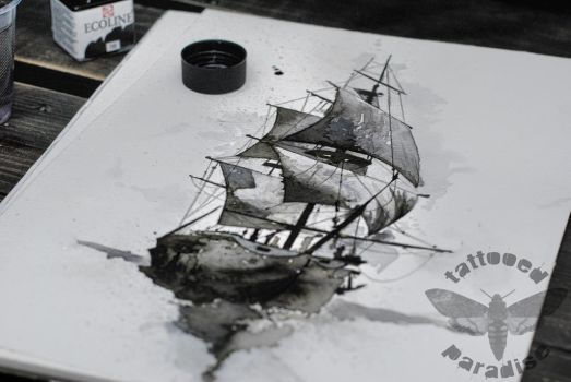 ship watercolor by dopeindulgence
