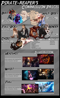 Commission prices 2018- OPEN by Pirate-Reaper
