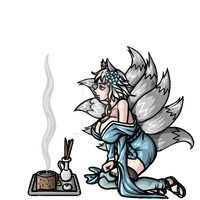 Snow Fox Burning Incense by phoenixignis