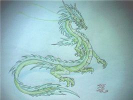 green Chinese dragon by Lena-Lucia-dragon