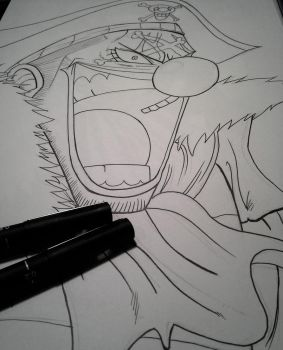 Lineart for Buggy the Clown, from One Piece! by delPuertoSisters