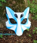 Pale Blue Kabuki Kitsune Leather Mask by SilverCicada