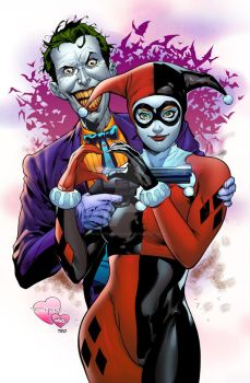 Joker And Harley heart by TeoGonzalezColors