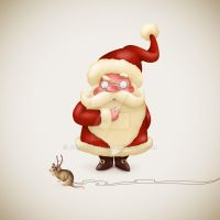 Santa with Mouse reindeer by jordygraph