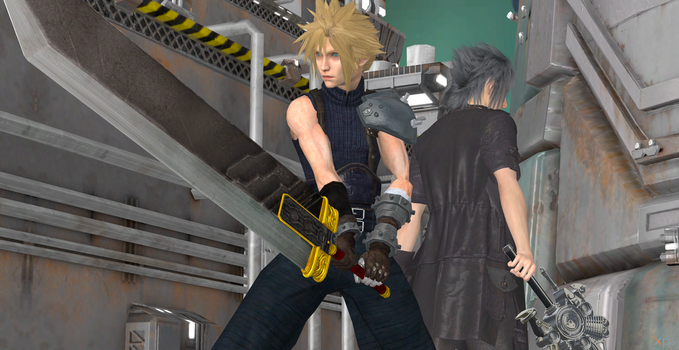 Cloud and Noctis: Stay Front and Behind Together by Hatredboy