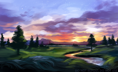 River and hills by Chickenbusiness