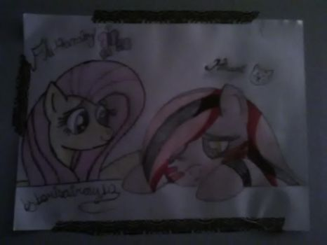 Fluttershy and hinami by borisairay12
