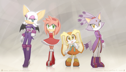 Weekly doodles Aug 28, 2017 Sonic Girls by HowXu