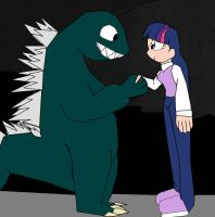 Godzilla shakes hands with Twilight Sparkle by alvaxerox