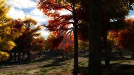 Paint over Autumn Forest by MyFrozenSanctuary