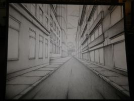 One Point Perspective City by senx28