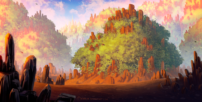 Trees and rocks by Kiarya