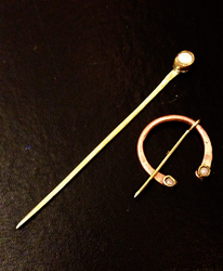Moonstone Copper and Brass Veil Pins by lilibat