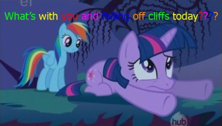 What's with you and falling off cliffs today? by RainbowDashRocks101