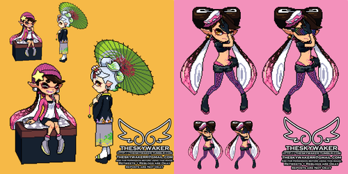 Pixel Squid Sisters (Splatoon 2) (6 17 2018) by theskywaker