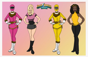 Pink and Yellow Zeo Power Rangers by Femmes-Fatales