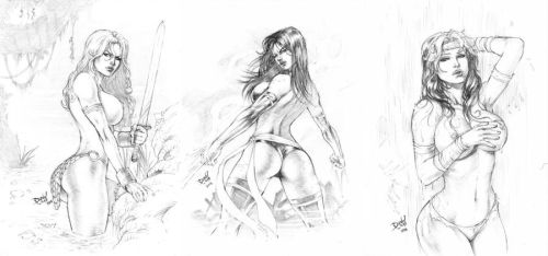Red Sonja, Psylocke and Rogue by DLimaArt