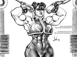 Chun-Li B+W by Jebriodo by elee0228