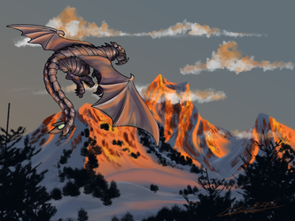 Dragon Over Mountain by WolfBlackwater
